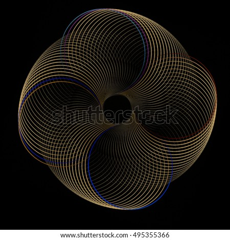 Intricate copper / gold abstract rotating disc / spring design on black background