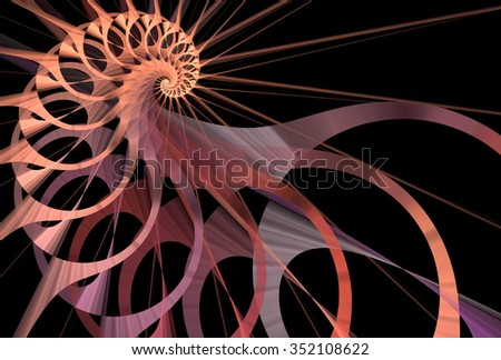 Intricate copper, pink and purple abstract spiky woven spiral design on black background - stock photo