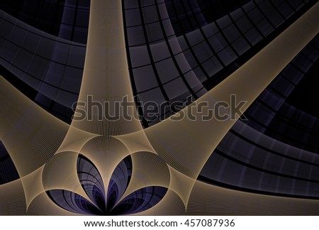 Intricate copper / purple abstract string / flower design on black background - stock photo