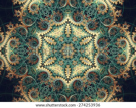Intricate fractal mandala, digital artwork for creative graphic design