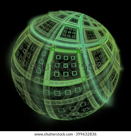 Intricate funky green abstract sphere / square design on black background  - stock photo