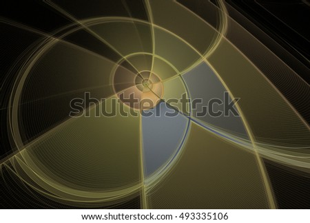 Intricate gold, copper and silver abstract 3D spiral design on black background