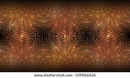 Intricate gold, orange and red abstract woven design on black background (tile able)