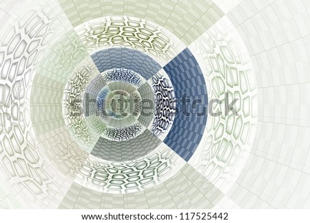 Intricate green and blue abstract patchwork disc on white background - stock photo