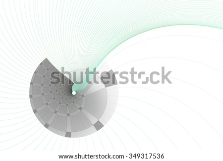 Intricate green / silver woven disc / string design white  background  - stock photo