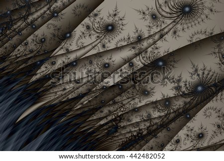 Intricate grey, blue and brown abstract fabric / grass design - stock photo