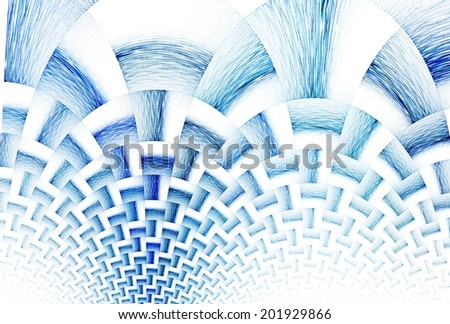 Intricate navy / blue textured curved design on white background - stock photo