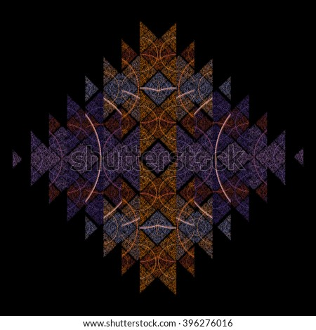 Intricate orange and purple textured triangle / diamond geometric pattern on black background - stock photo