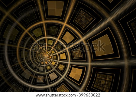 Intricate orange / copper abstract square spiral design on black background  - stock photo