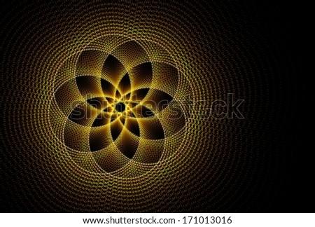 Intricate orange / yellow abstract ripple / flower design on black background - stock photo