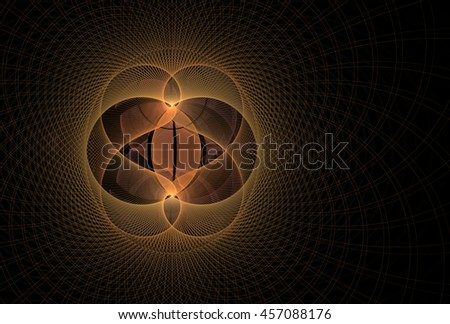 Intricate orange / yellow abstract woven string design on black background - stock photo