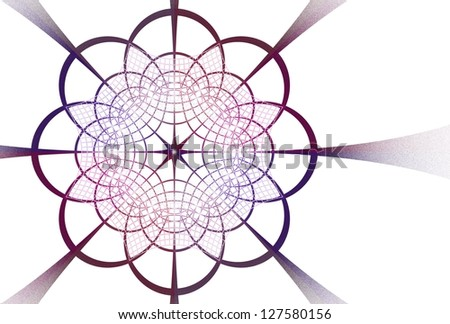 Intricate pink and purple metallic flower / star woven design on white background