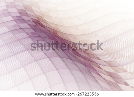 Intricate pink / purple abstract checkered string wave design on white background  - stock photo