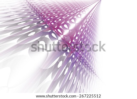 Intricate pink / purple abstract woven 3D design on white background  - stock photo