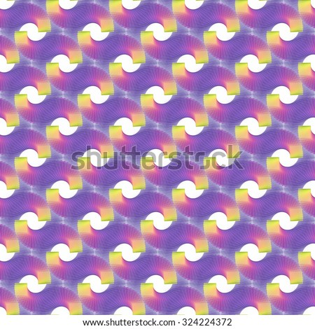 Intricate purple, pink and yellow abstract spinning square spirals on white background (tile able)  - stock photo