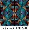 Intricate red, orange and blue diamond / triangle stained window design on black background - stock photo