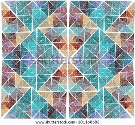 Intricate red, orange and blue diamond / triangle stained window design on white background - stock photo