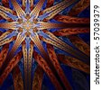 Intricate red, orange, blue and white woven star design on black background - stock photo