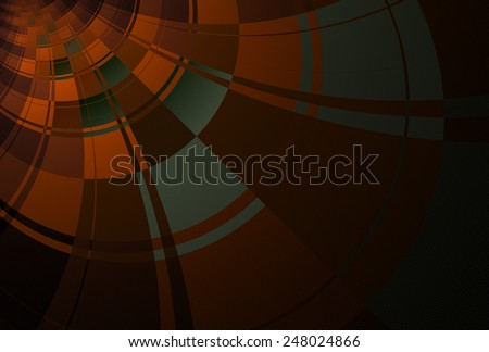 Intricate red / orange / grey curved checkered design on black background  - stock photo