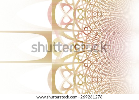 Intricate red / orange woven pattern on white background  - stock photo