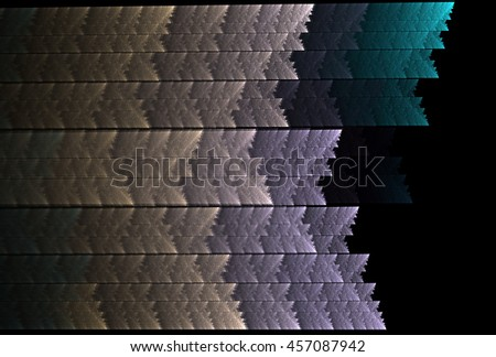 Intricate teal, gold and silver textured stripes on black background - stock photo