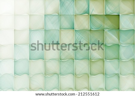 Intricate teal / green abstract curved-tile mosaic design on white background  - stock photo