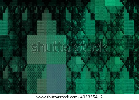 Intricate teal / green abstract rectangle pattern on black background