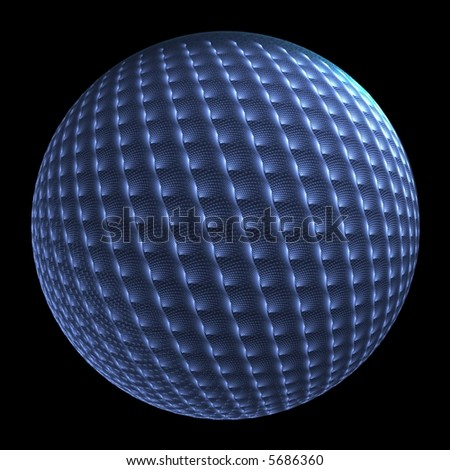 Intricate woven blue sphere on black background - Christmas decoration