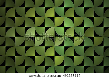 Intricate woven lime / green abstract geometric design on black background