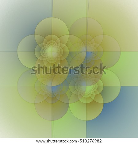 Intricate yellow, blue and green abstract geometric flower pattern / tile on white background