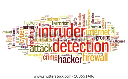 Intruder detection concept in word tag cloud on white background - stock photo