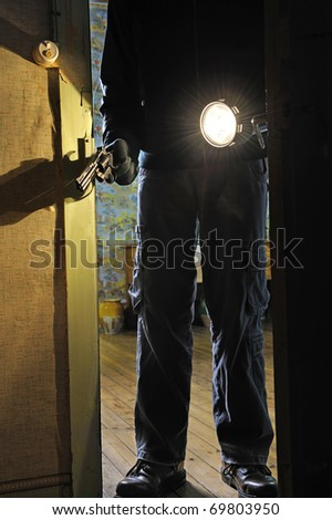 intrusion of a burglar in a house inhabited - stock photo