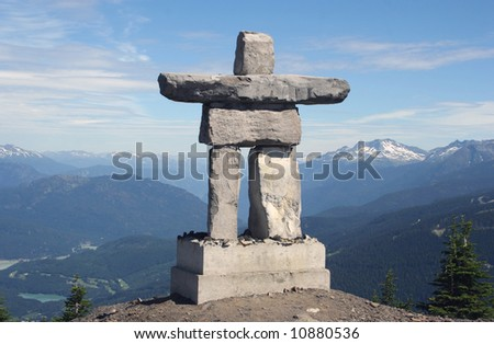 Inukshuk at Mount Whistler, Canada - stock photo