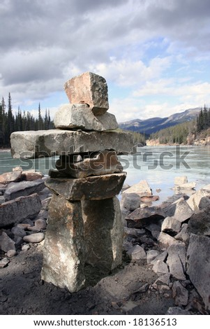 Inukshuk built in Jasper Alberta - stock photo