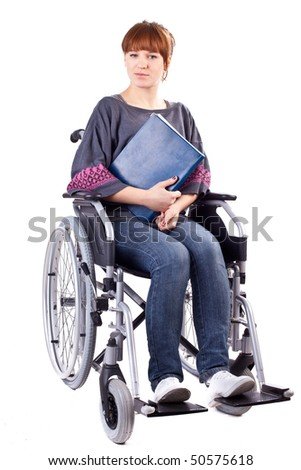 invalid girl with book on wheelchair isolated on white - stock photo