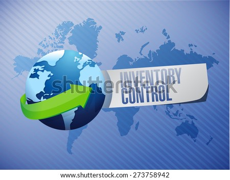 inventory control globe sign concept illustration design over blue