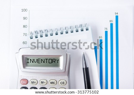 Inventory - Financial accounting stock market graphs analysis. Calculator, notebook with blank sheet of paper, pen on chart. Top view - stock photo