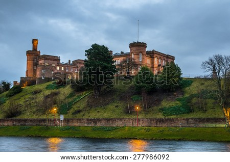 Inverness Castle on a Cloudy Night - stock photo
