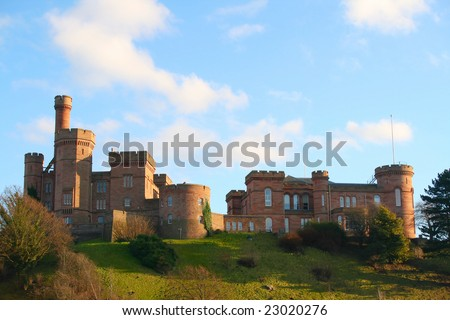 Inverness Castle the capital city of the Highlands of Scotland. Winter.