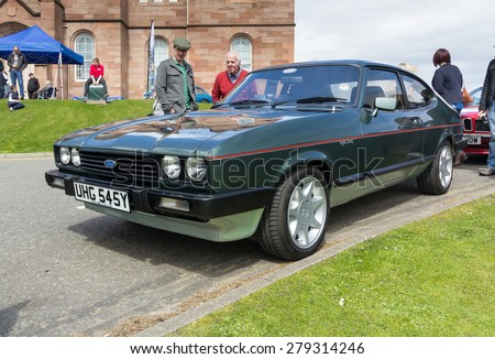 INVERNESS, SCOTLAND - MAY 9: Ford Capri on May 9, 2015 in Inverness, Scotland. - stock photo