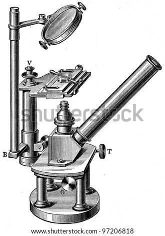 inverse microscope - an illustration of the encyclopedia publishers Education, St. Petersburg, Russian Empire, 1896 - stock photo