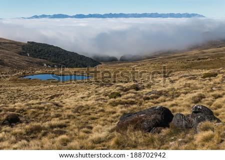 inversion in Fiordland, New Zealand - stock photo