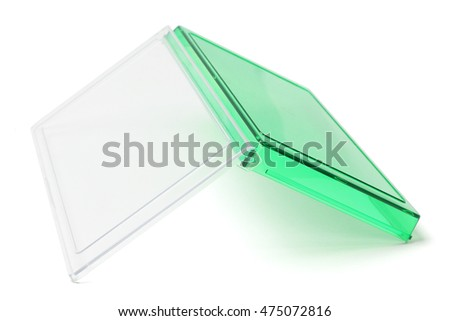 Inverted Open Green Plastic Stationery Box on White Background
