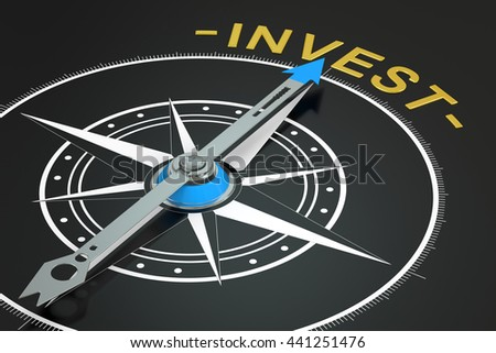 Invest compass concept, 3D rendering - stock photo