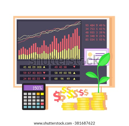 Invest in shares concept icon flat design. Investment in business, money and finance, data chart, graph financial, market infographic, information and profit, economic accounting illustration. Raster - stock photo