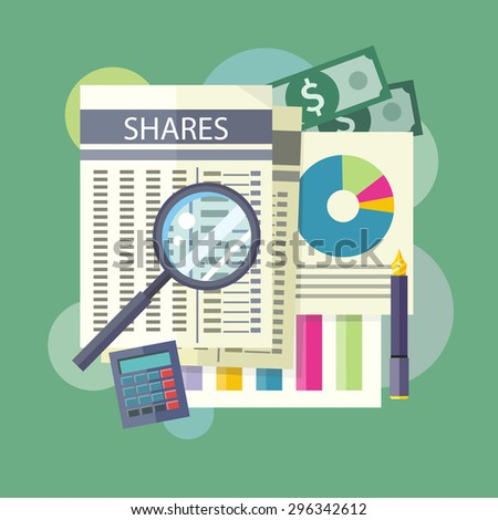 Invest in Shares. Tables, reports, charts of share price. Detailed analysis through a magnifying glass. Flat design on the stylish colored background. For banners, brochures. Raster version - stock photo