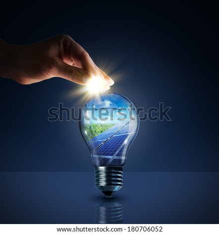 invest in solar energy -  concept - sun in bulb  - stock photo