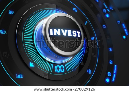 Invest Regulator on Black Control Console with Blue Backlight. Improvement, regulation, control or management concept. - stock photo