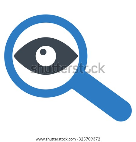 Investigate glyph icon. Style is bicolor flat symbol, smooth blue colors, rounded angles, white background. - stock photo
