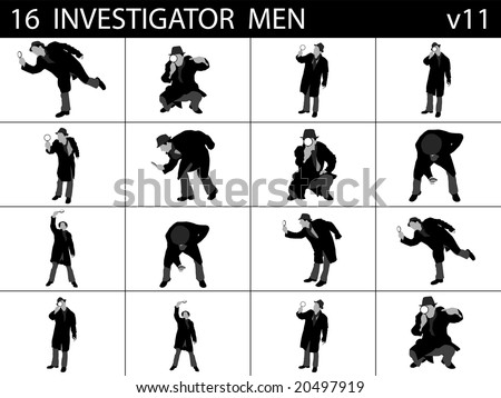 investigating men on isolated background - stock photo